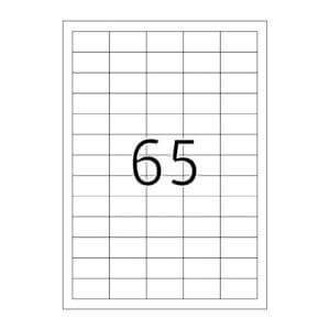 Planche étiquettes autocollantes sur feuille A4 : 65 étiquettes